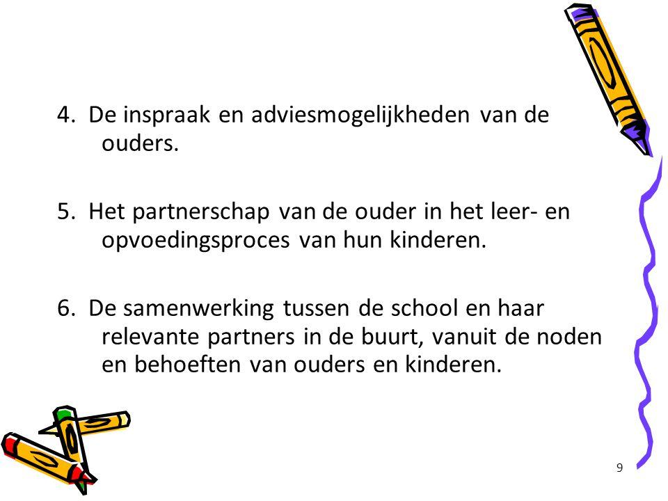 9 4. De inspraak en adviesmogelijkheden van de ouders. 5. Het partnerschap van de ouder in het leer- en opvoedingsproces van hun kinderen. 6. De samen
