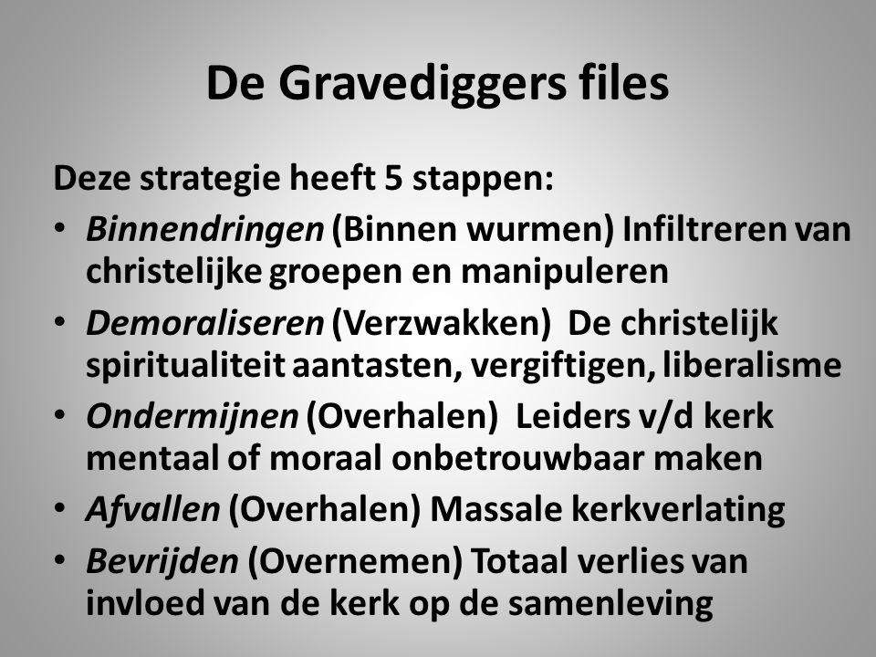 De Gravediggers files Deze strategie heeft 5 stappen: Binnendringen (Binnen wurmen) Infiltreren van christelijke groepen en manipuleren Demoraliseren