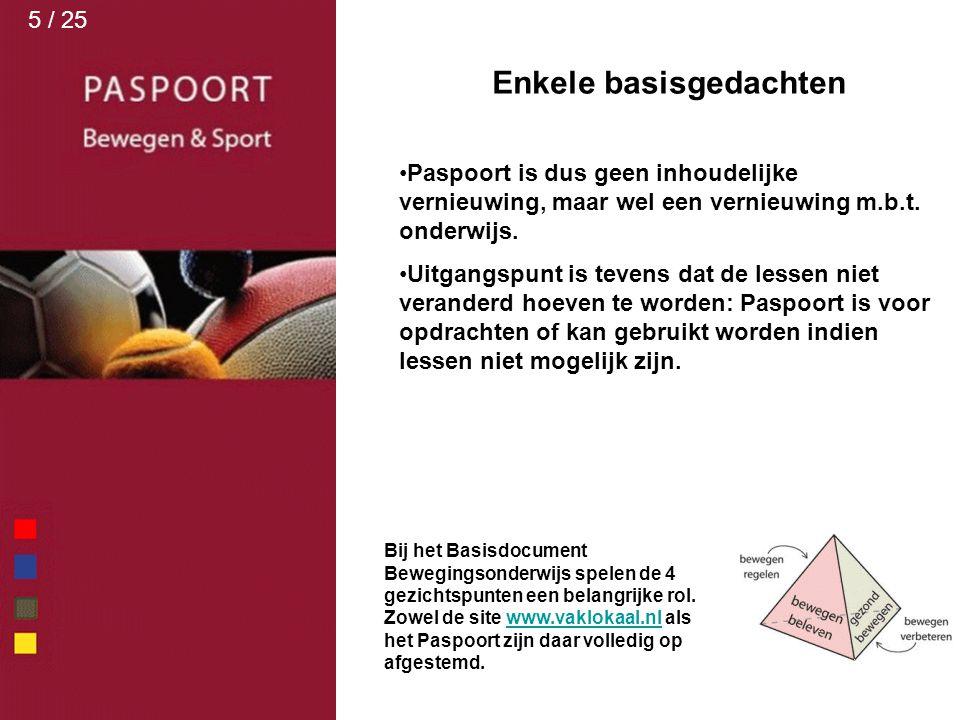 Bij het Basisdocument Bewegingsonderwijs spelen de 4 gezichtspunten een belangrijke rol. Zowel de site www.vaklokaal.nl als het Paspoort zijn daar vol