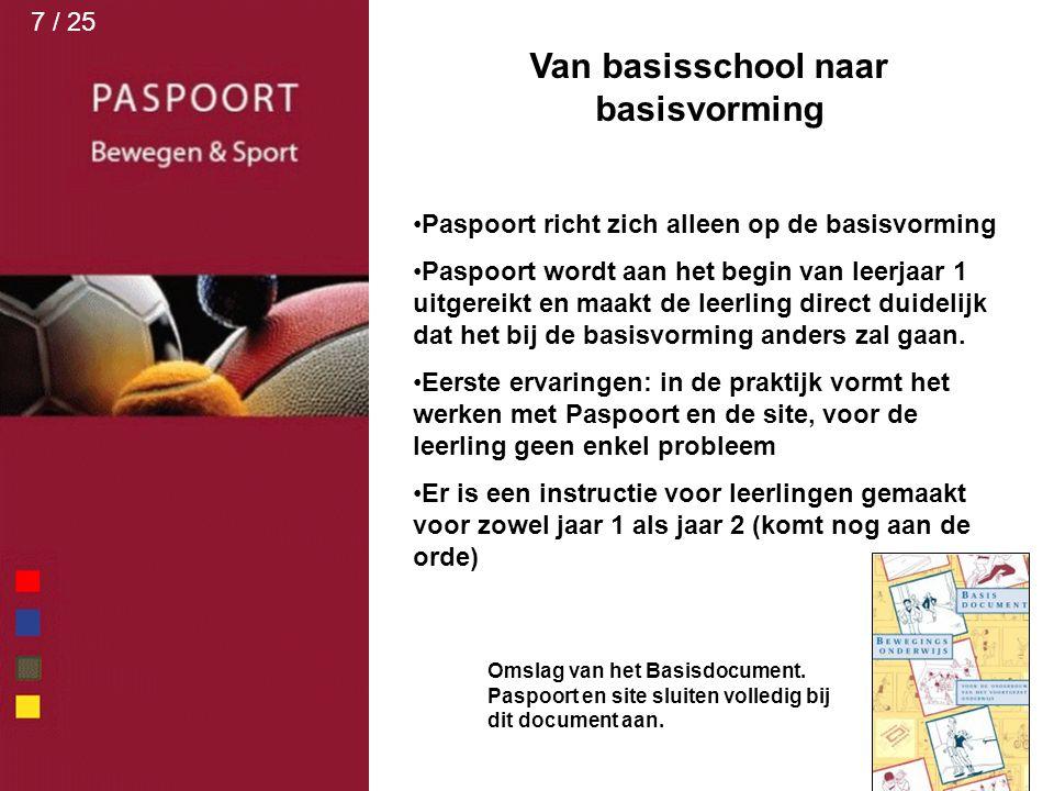 Van basisschool naar basisvorming Paspoort richt zich alleen op de basisvorming Paspoort wordt aan het begin van leerjaar 1 uitgereikt en maakt de lee