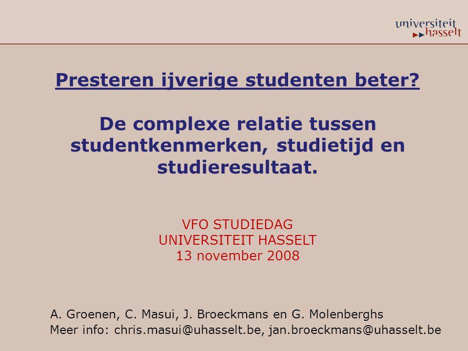 RESULTATEN ONDERZOEKSVRAAG 2:  Studentkenmerken hebben een beperkte invloed op studietijd (vervolg): patroon:  vrij beperkte invloed van studentkenmerken  invloed van geslacht, voorkennis en studiekeuzezekerheid komt terug op alle analyseniveaus VFO studiedag 13 november 2008
