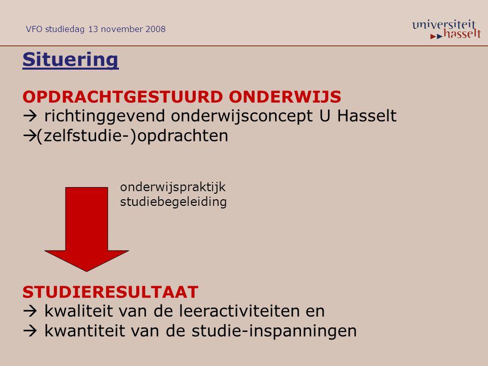 Situering OPDRACHTGESTUURD ONDERWIJS  richtinggevend onderwijsconcept U Hasselt  (zelfstudie-)opdrachten onderwijspraktijk studiebegeleiding STUDIER