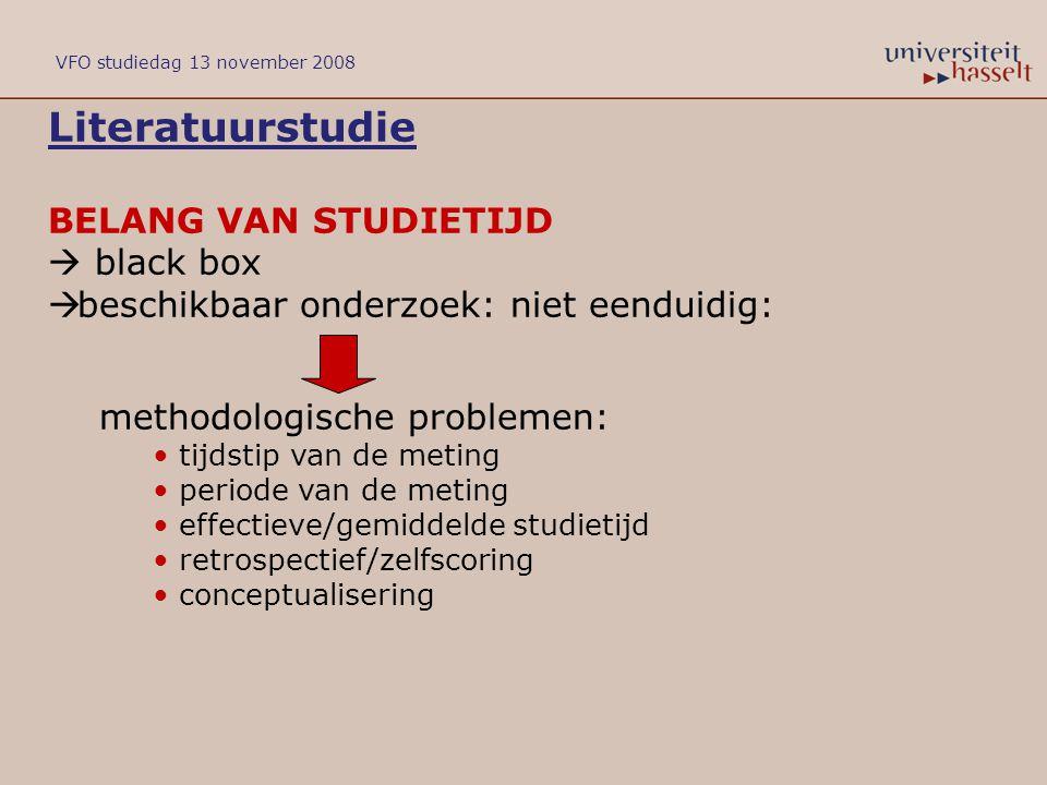 Literatuurstudie BELANG VAN STUDIETIJD  black box  beschikbaar onderzoek: niet eenduidig: methodologische problemen: tijdstip van de meting periode