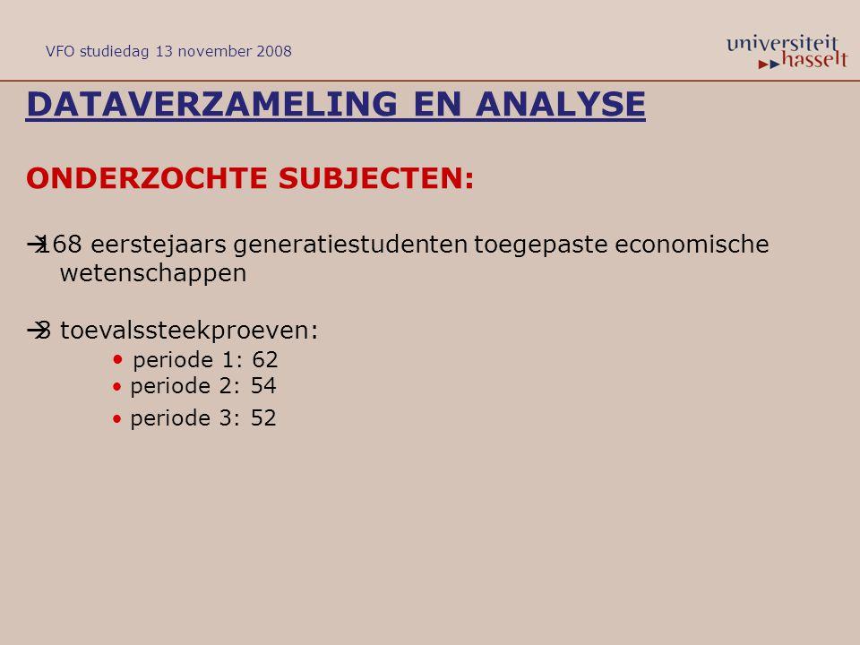 DATAVERZAMELING EN ANALYSE ONDERZOCHTE SUBJECTEN:  168 eerstejaars generatiestudenten toegepaste economische wetenschappen  3 toevalssteekproeven: p