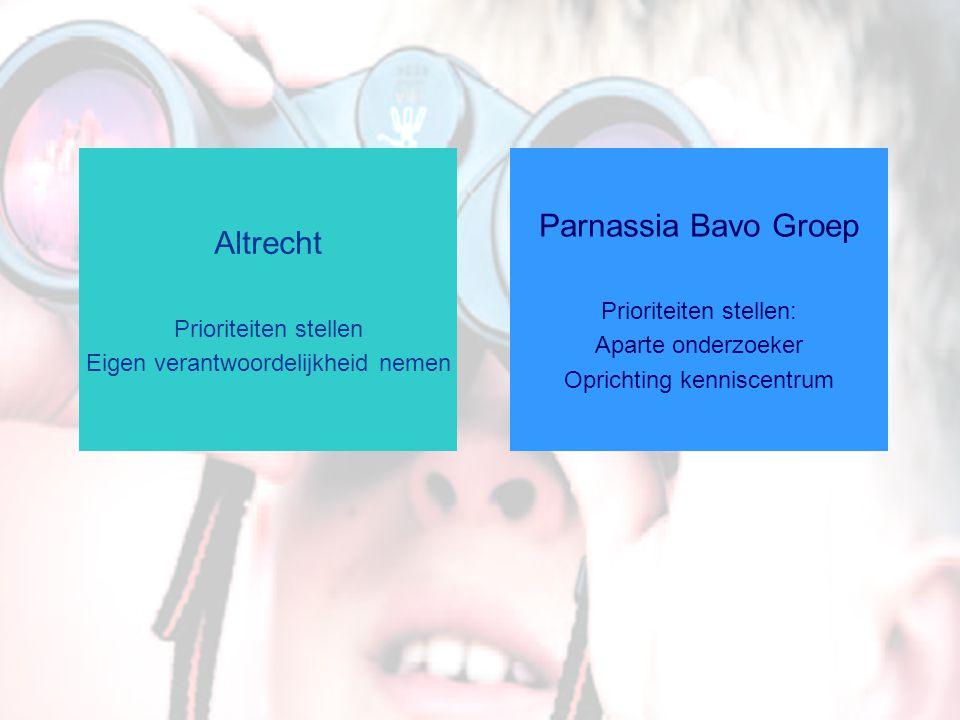 Altrecht Prioriteiten stellen Eigen verantwoordelijkheid nemen Parnassia Bavo Groep Prioriteiten stellen: Aparte onderzoeker Oprichting kenniscentrum