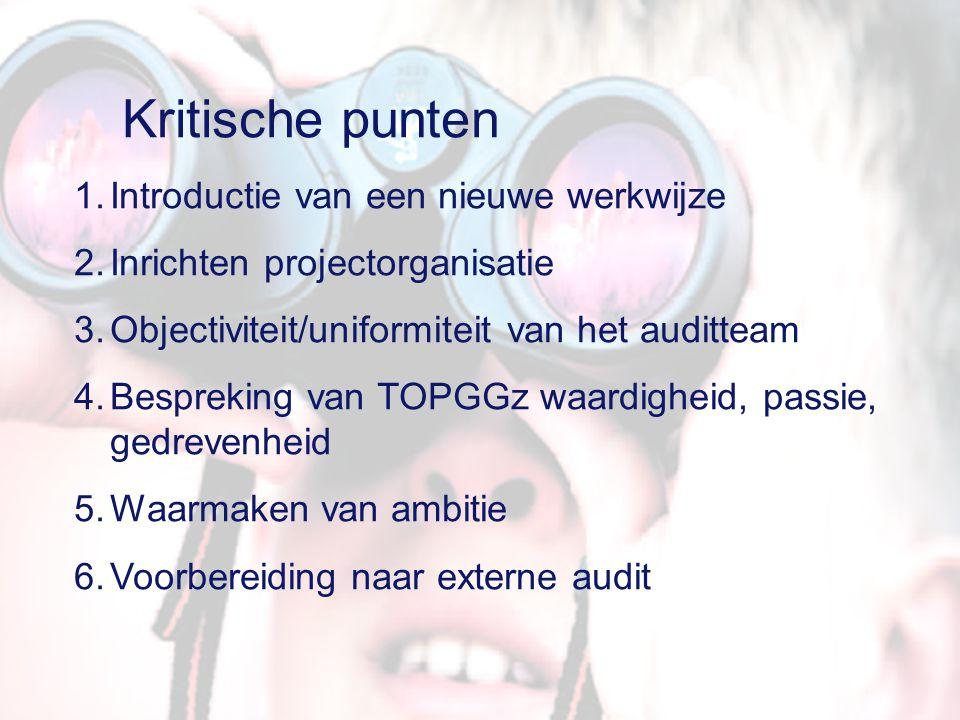 6 kritische punten 1.Introductie van een nieuwe werkwijze in de instelling, dat leidt naar een politieke arena; worden zorgprogramma's aangewezen, is er vrijheid blijheid, 2.Inrichten projectorganisatie, voorbeelden uit de praktijk 3.Objectiviteit/uniformiteit van het auditteam 4.Bespreking van TOPGGz waardigheid, passie, gedrevenheid 5.Waarmaken van ambitie: prioriteiten stellen t.a.v onderzoek, productieverlies, publiceren, de goede mensen op de goede plaats 6.Voorbereiding naar Externe Audit, bewijsvoeringaspecten.