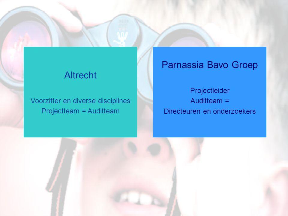 Altrecht Voorzitter en diverse disciplines Projectteam = Auditteam Parnassia Bavo Groep Projectleider Auditteam = Directeuren en onderzoekers