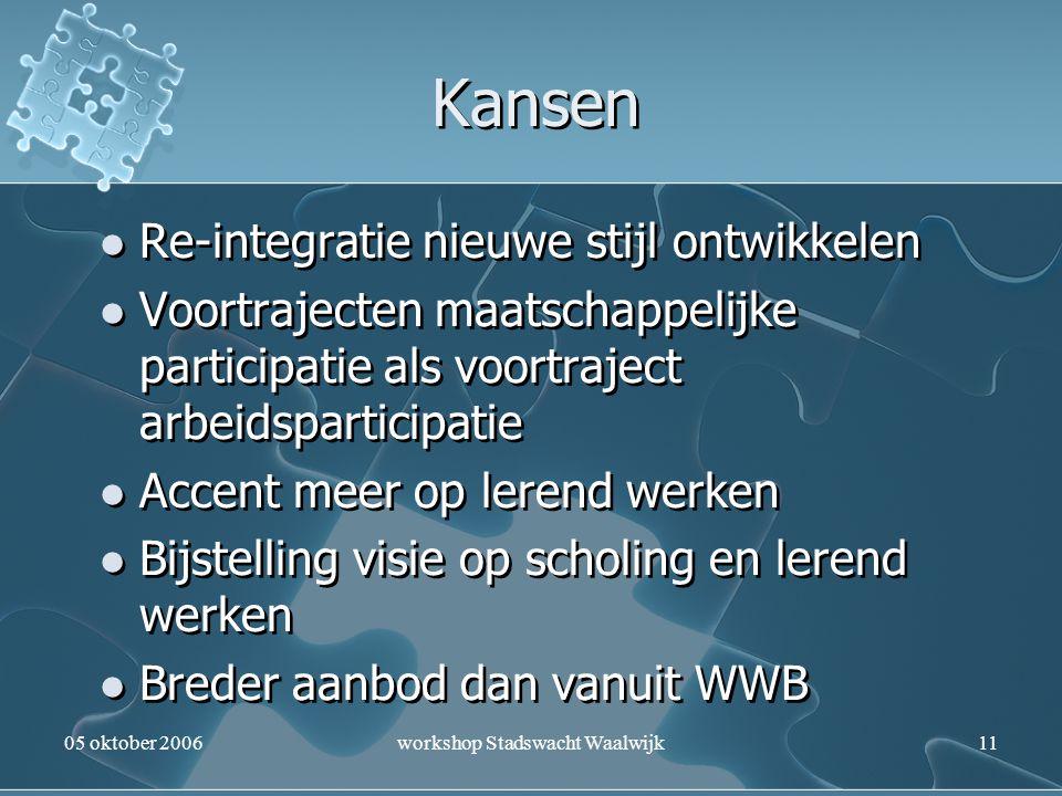 05 oktober 2006workshop Stadswacht Waalwijk11 Kansen Re-integratie nieuwe stijl ontwikkelen Voortrajecten maatschappelijke participatie als voortrajec