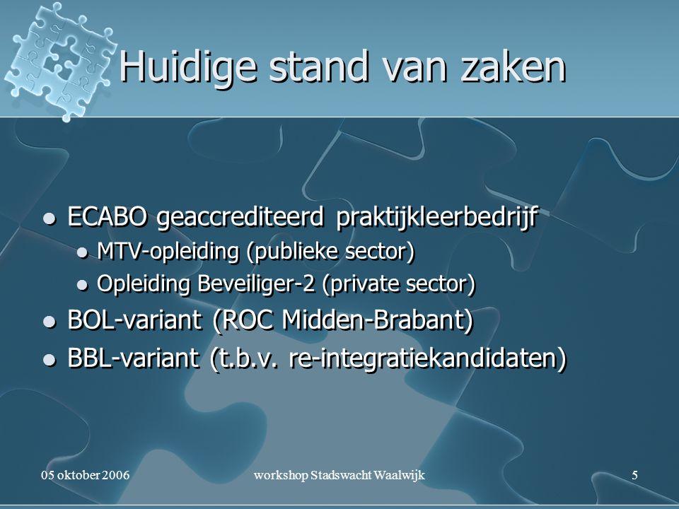 05 oktober 2006workshop Stadswacht Waalwijk5 Huidige stand van zaken ECABO geaccrediteerd praktijkleerbedrijf MTV-opleiding (publieke sector) Opleidin