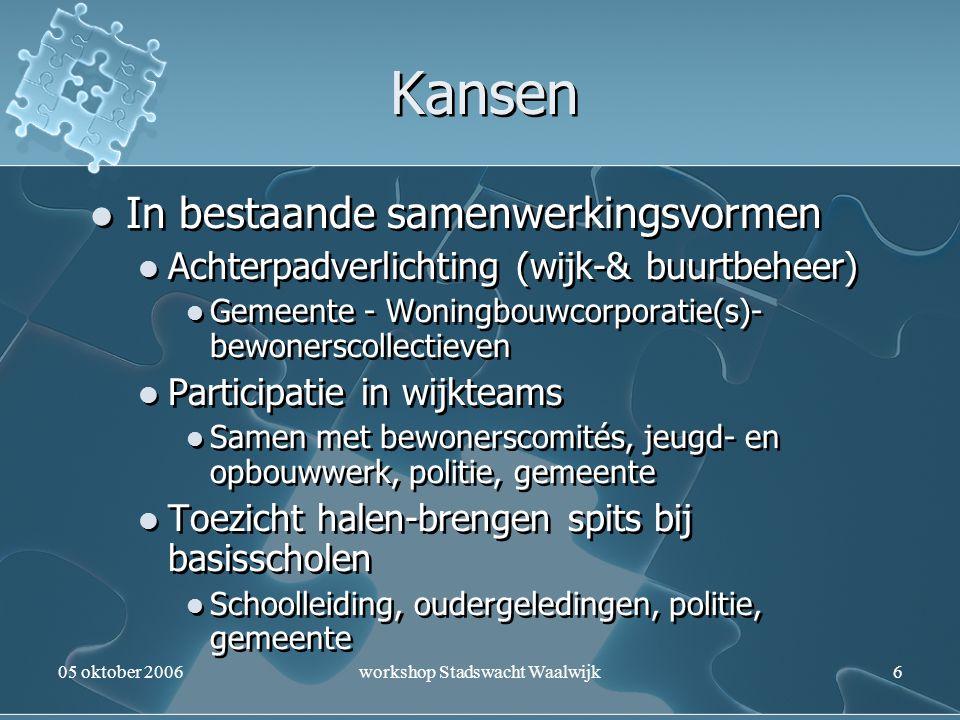 05 oktober 2006workshop Stadswacht Waalwijk6 Kansen In bestaande samenwerkingsvormen Achterpadverlichting (wijk-& buurtbeheer) Gemeente - Woningbouwco