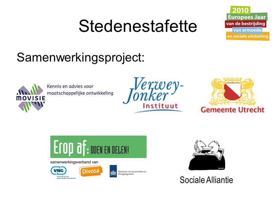 Doel Stedenestafette Lokaal armoedebeleid in de schijnwerper: -Versterken van lokale aanpak van armoede -Bevorderen van lokale samenwerking -Betrekken van minima en hun organisaties -Maken van een lokale sociale (toekomst)agenda