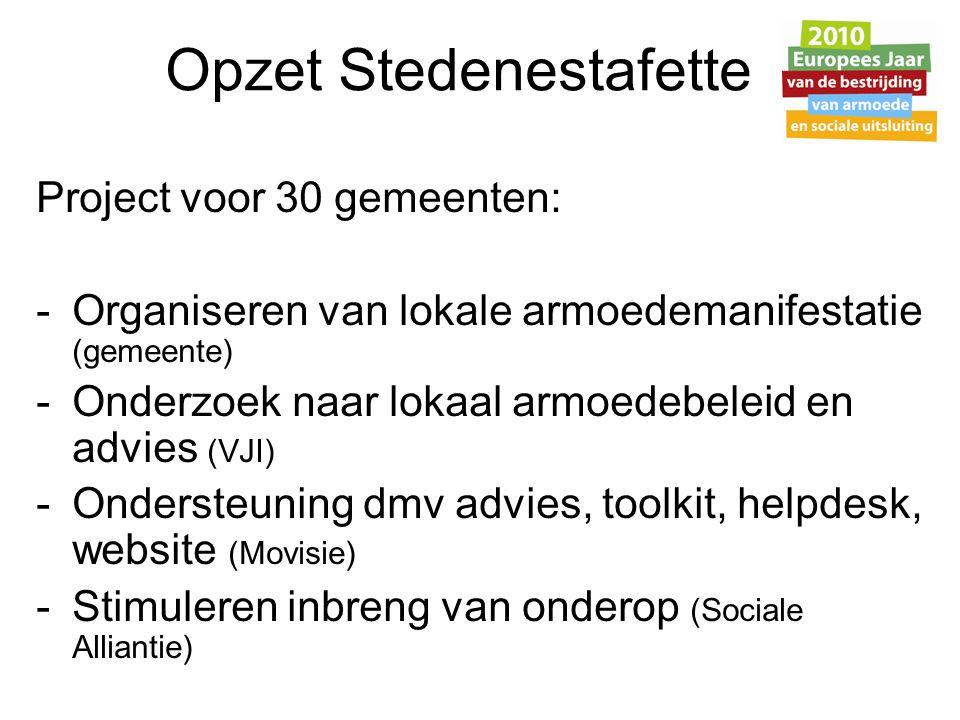 Inzet Sociale Alliantie Capaciteit Stedenestafette: - 30 gemeenten i.v.m.