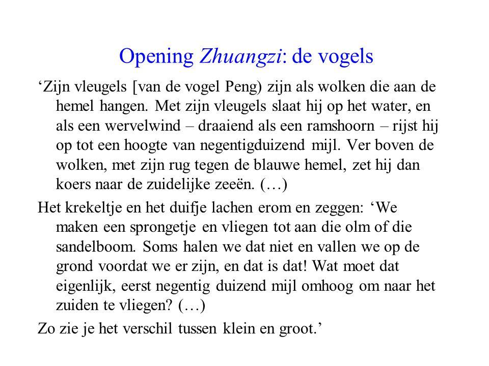 Opening Zhuangzi: de vogels 'Zijn vleugels [van de vogel Peng) zijn als wolken die aan de hemel hangen. Met zijn vleugels slaat hij op het water, en a