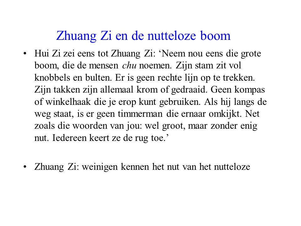 Zhuang Zi en de nutteloze boom Hui Zi zei eens tot Zhuang Zi: 'Neem nou eens die grote boom, die de mensen chu noemen. Zijn stam zit vol knobbels en b
