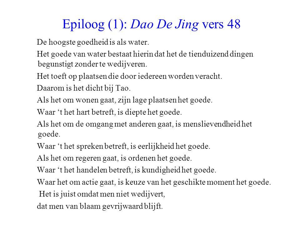 Epiloog (1): Dao De Jing vers 48 De hoogste goedheid is als water. Het goede van water bestaat hierin dat het de tienduizend dingen begunstigt zonder