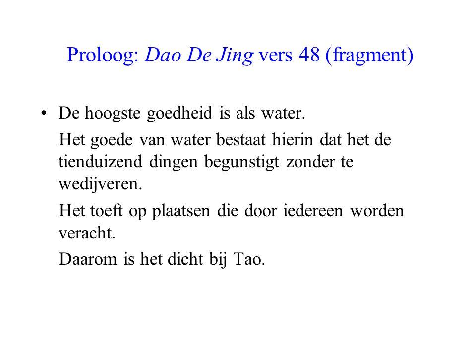Proloog: Dao De Jing vers 48 (fragment) De hoogste goedheid is als water. Het goede van water bestaat hierin dat het de tienduizend dingen begunstigt