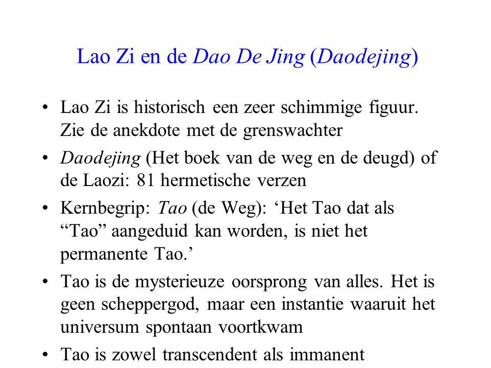 De werking van Tao: de deugd (De) Tao is zowel 'begin' als 'beginsel' van de dingen (voortbrenger, maar ook voedende moeder) Tao handelt volstrekt belangeloos en onbaatzuchtig: alles krijgt de ruimte voor ontwikkeling 'De hoogste deugd is geen deugd.