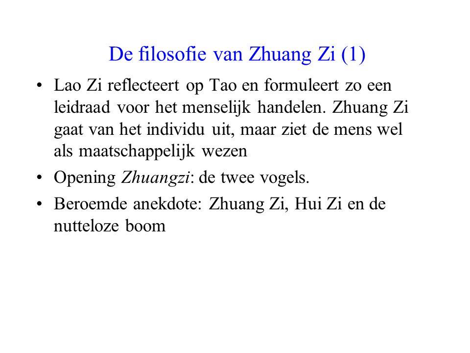 De filosofie van Zhuang Zi (1) Lao Zi reflecteert op Tao en formuleert zo een leidraad voor het menselijk handelen. Zhuang Zi gaat van het individu ui