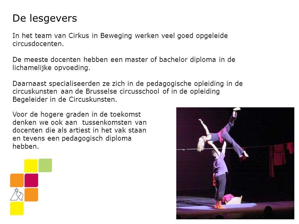De lesgevers In het team van Cirkus in Beweging werken veel goed opgeleide circusdocenten.