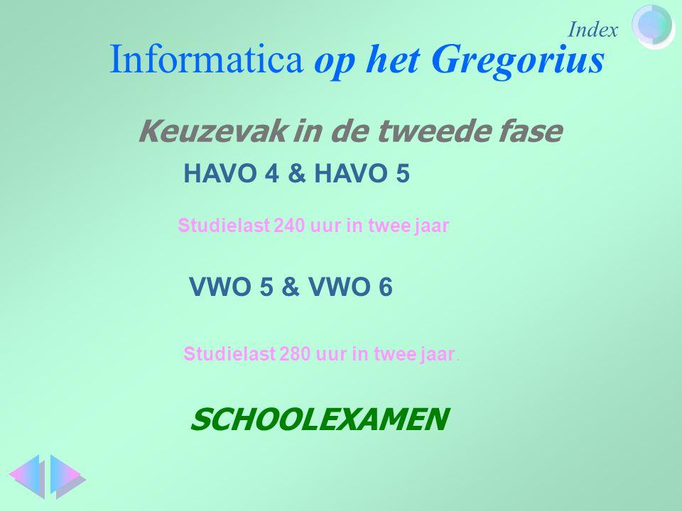 Index Informatica op het Gregorius HAVO 4 & HAVO 5 Studielast 240 uur in twee jaar VWO 5 & VWO 6 Studielast 280 uur in twee jaar. SCHOOLEXAMEN Keuzeva