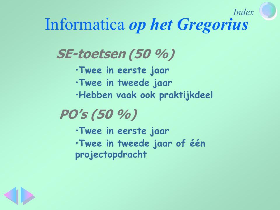 Index Informatica op het Gregorius Twee in eerste jaar Twee in tweede jaar Hebben vaak ook praktijkdeel SE-toetsen (50 %) PO's (50 %) Twee in eerste j