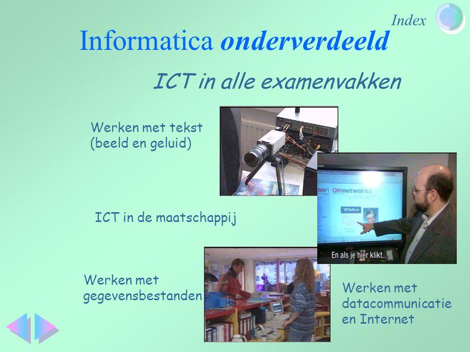 Index ICT in alle examenvakken Informatica onderverdeeld ICT in de maatschappij Werken met tekst (beeld en geluid) Werken met gegevensbestanden Werken