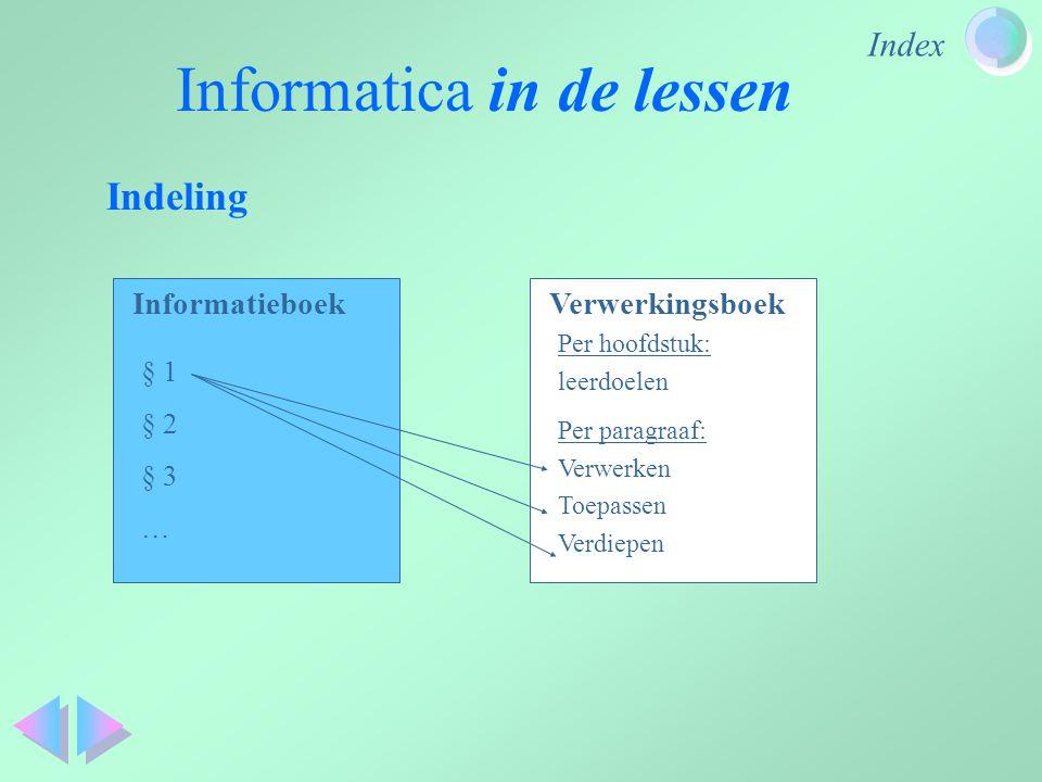 Index Informatica in de lessen Indeling InformatieboekVerwerkingsboek § 1 § 2 § 3 … Per paragraaf: Verwerken Toepassen Verdiepen Per hoofdstuk: leerdo
