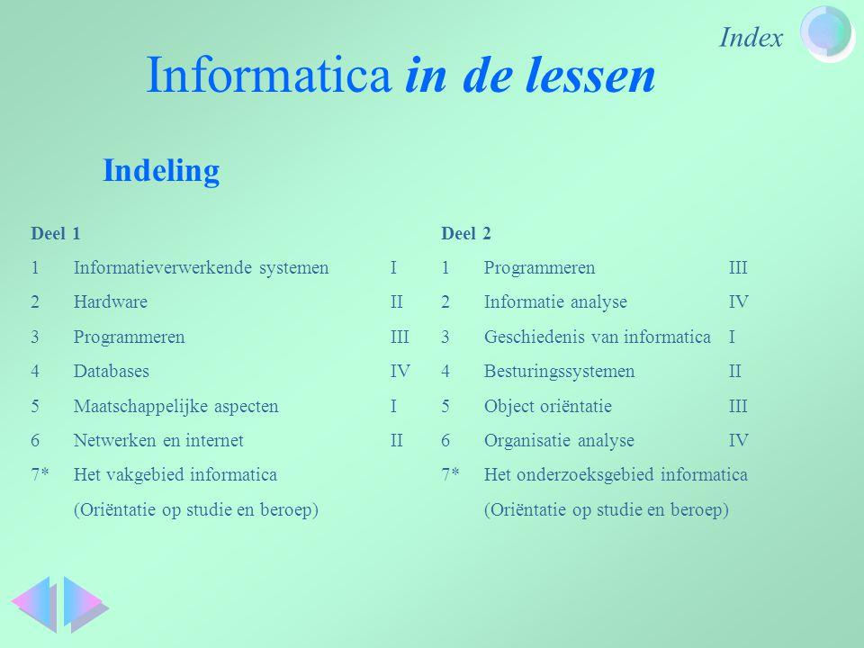 Index Informatica in de lessen Indeling Deel 1 1Informatieverwerkende systemenI 2HardwareII 3ProgrammerenIII 4DatabasesIV 5Maatschappelijke aspectenI