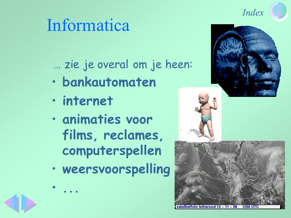 Index Informatica bankautomaten internet animaties voor films, reclames, computerspellen weersvoorspelling...
