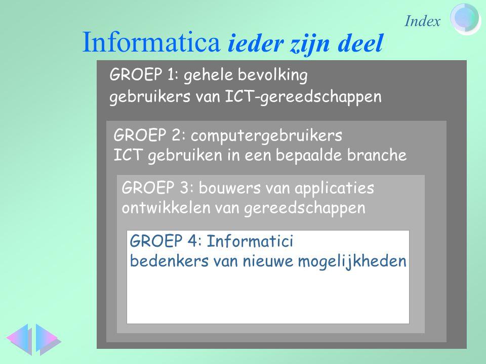 Index GROEP 1: gehele bevolking gebruikers van ICT-gereedschappen GROEP 2: computergebruikers ICT gebruiken in een bepaalde branche GROEP 3: bouwers v
