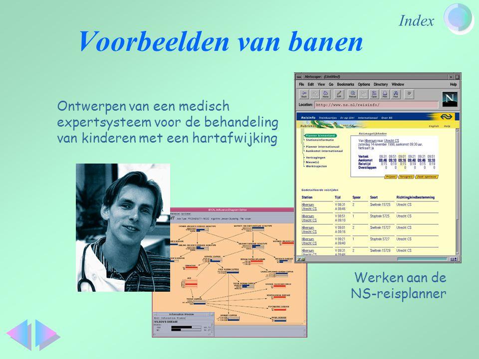 Index Voorbeelden van banen Werken aan de NS-reisplanner Ontwerpen van een medisch expertsysteem voor de behandeling van kinderen met een hartafwijkin