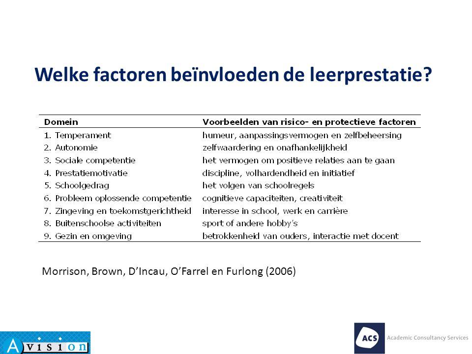 Morrison, Brown, D'Incau, O'Farrel en Furlong (2006) Welke factoren beïnvloeden de leerprestatie?