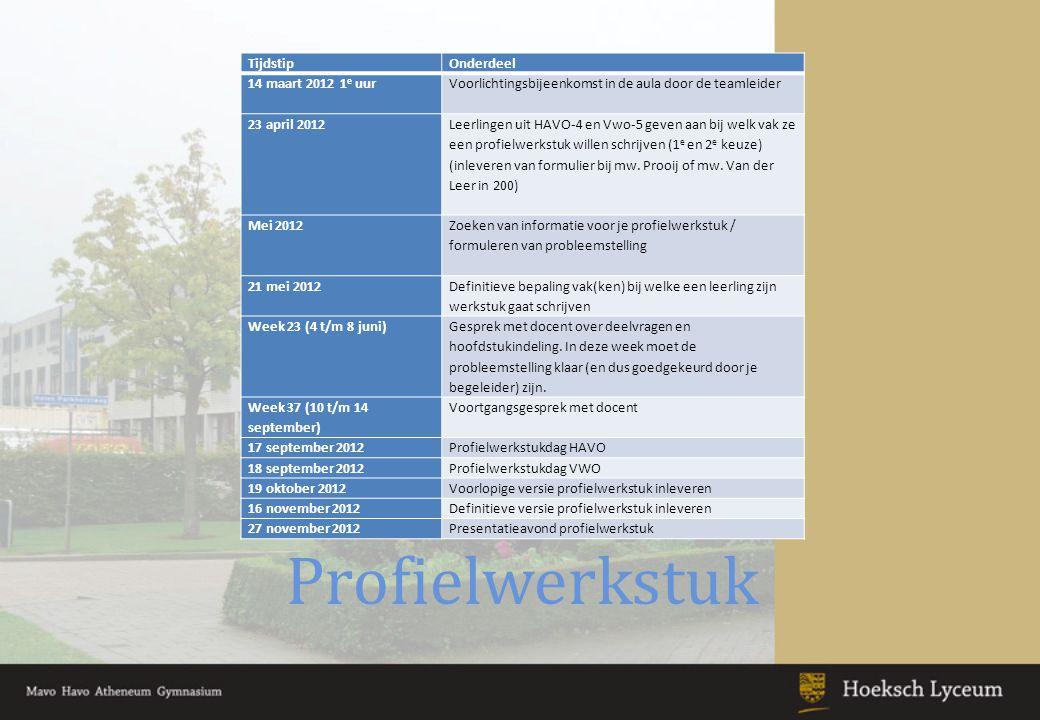 Schoolexamen SE-week -9 t/m 18 januari 2013 -25 t/m 29 maart 2013 Herkansen per periode Herexamen op 5 en 6 februari en 22 en 23 april 2013 : Voor 1 vak met alleen schoolexamen; vindt plaats in VWO 6 / HAVO 5