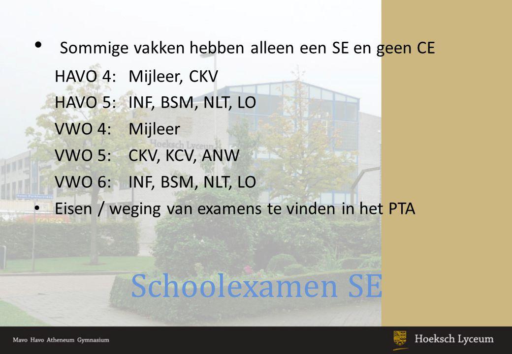 Afronding Schoolexamens Voordat aan het CE mag worden deelgenomen moet het SE afgesloten zijn: Alle SE toetsen gemaakt Alle handelingsdelen afgerond (LO, CKV) Het pws moet met een cijfer van minimaal 4,0 zijn afgerond