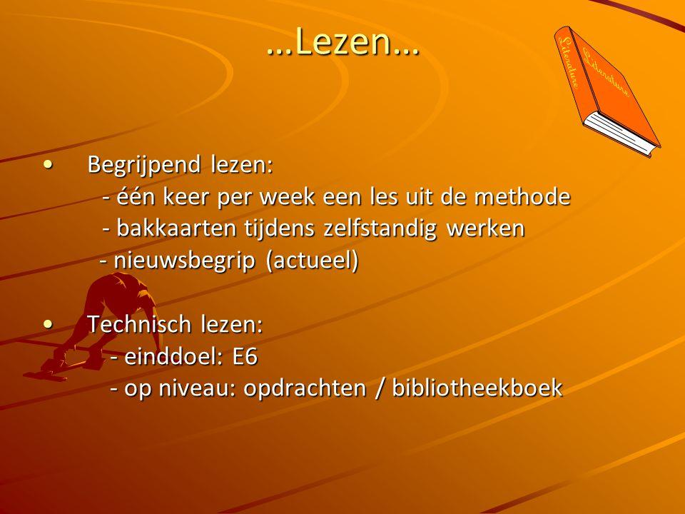 …Lezen… Begrijpend lezen:Begrijpend lezen: - één keer per week een les uit de methode - één keer per week een les uit de methode - bakkaarten tijdens zelfstandig werken - bakkaarten tijdens zelfstandig werken - nieuwsbegrip (actueel) - nieuwsbegrip (actueel) Technisch lezen:Technisch lezen: - einddoel: E6 - op niveau: opdrachten / bibliotheekboek