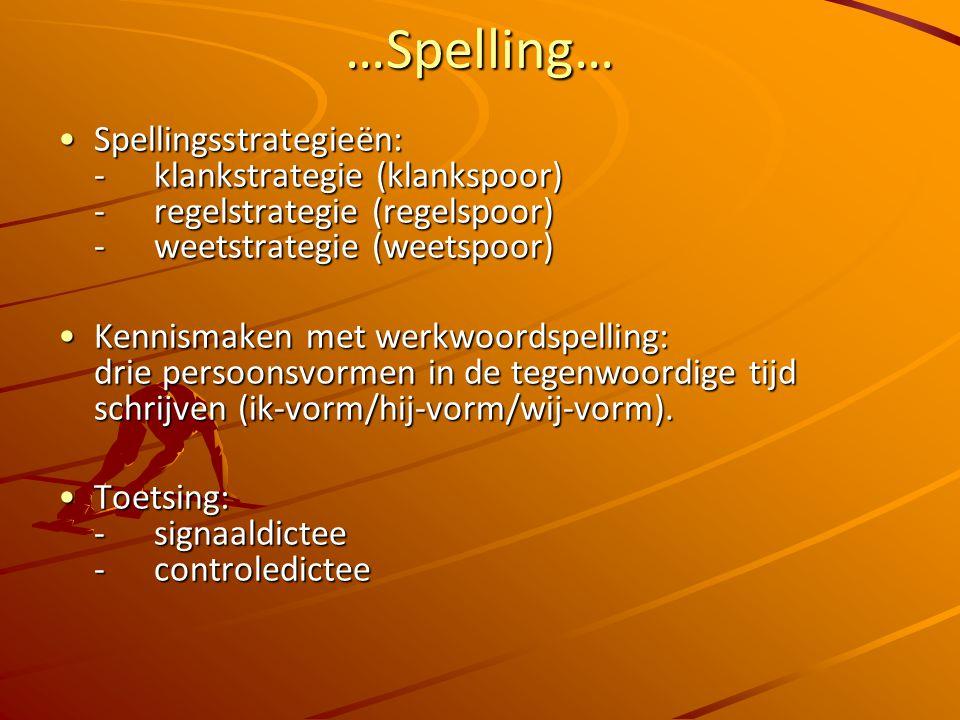 …Spelling… Spellingsstrategieën: -klankstrategie (klankspoor) -regelstrategie (regelspoor) - weetstrategie (weetspoor)Spellingsstrategieën: -klankstrategie (klankspoor) -regelstrategie (regelspoor) - weetstrategie (weetspoor) Kennismaken met werkwoordspelling: drie persoonsvormen in de tegenwoordige tijd schrijven (ik-vorm/hij-vorm/wij-vorm).Kennismaken met werkwoordspelling: drie persoonsvormen in de tegenwoordige tijd schrijven (ik-vorm/hij-vorm/wij-vorm).