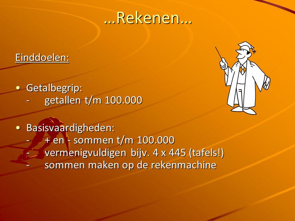 …Rekenen… Einddoelen: Getalbegrip: - getallen t/m 100.000Getalbegrip: - getallen t/m 100.000 Basisvaardigheden: -+ en - sommen t/m 100.000 - vermenigvuldigen bijv.
