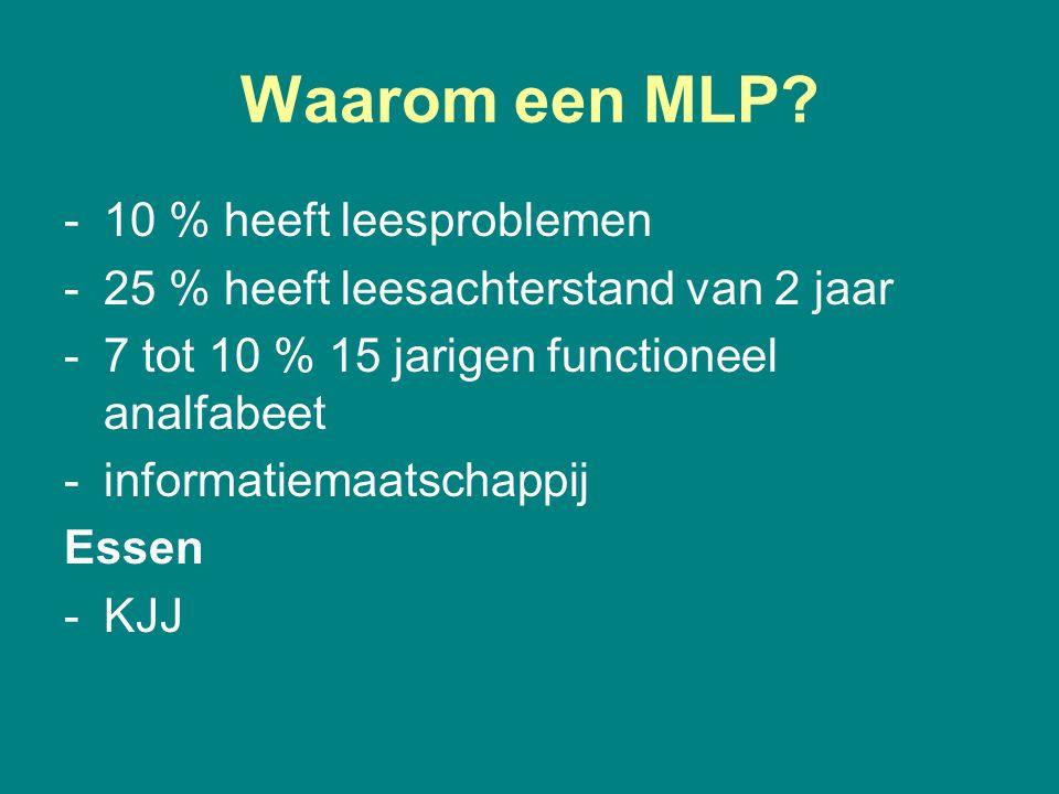 Waarom een MLP? -10 % heeft leesproblemen -25 % heeft leesachterstand van 2 jaar -7 tot 10 % 15 jarigen functioneel analfabeet -informatiemaatschappij