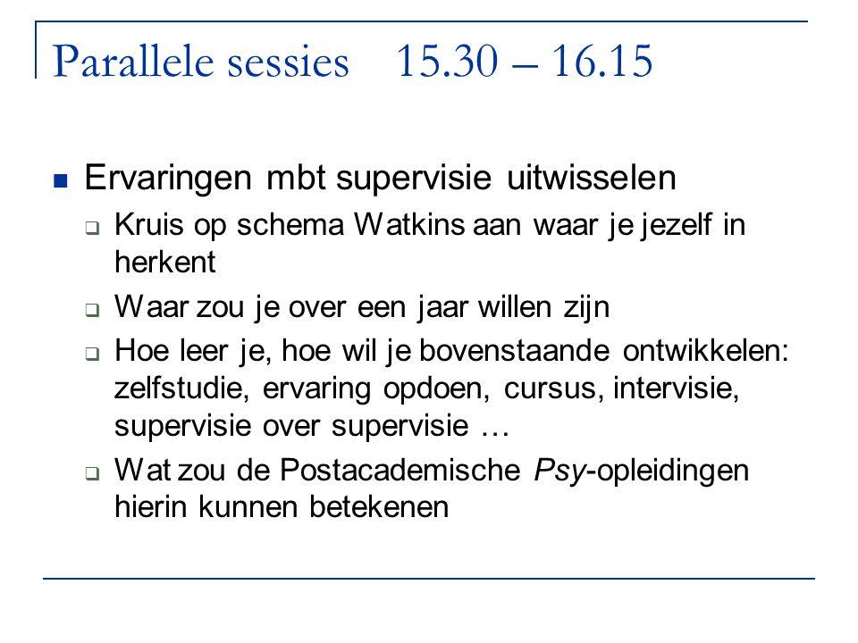 Parallele sessies15.30 – 16.15 Ervaringen mbt supervisie uitwisselen  Kruis op schema Watkins aan waar je jezelf in herkent  Waar zou je over een ja