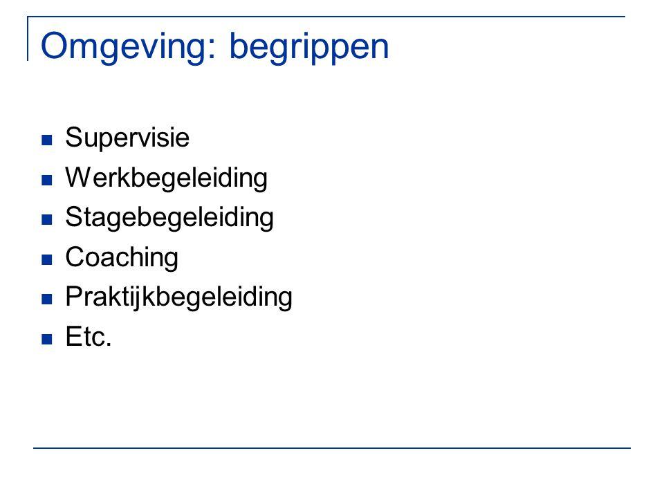 Omgeving: begrippen Supervisie Werkbegeleiding Stagebegeleiding Coaching Praktijkbegeleiding Etc.
