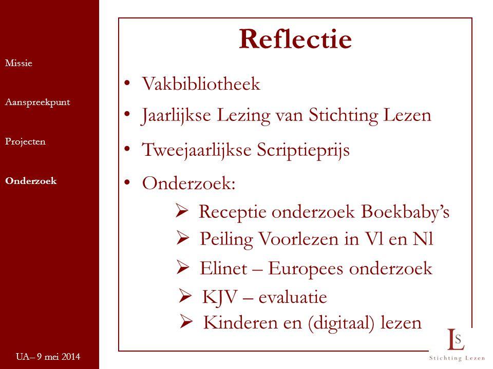 UA– 9 mei 2014 Missie Aanspreekpunt Projecten Onderzoek Reflectie Vakbibliotheek Jaarlijkse Lezing van Stichting Lezen Tweejaarlijkse Scriptieprijs On