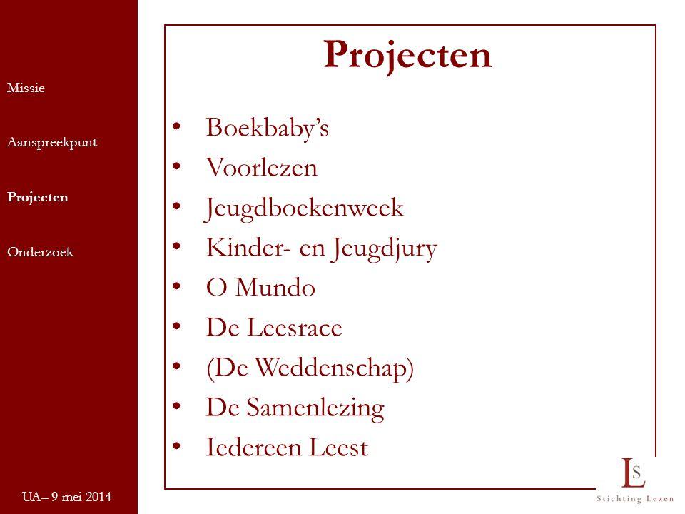 UA– 9 mei 2014 Missie Aanspreekpunt Projecten Onderzoek Projecten Boekbaby's Voorlezen Jeugdboekenweek Kinder- en Jeugdjury O Mundo De Leesrace (De We