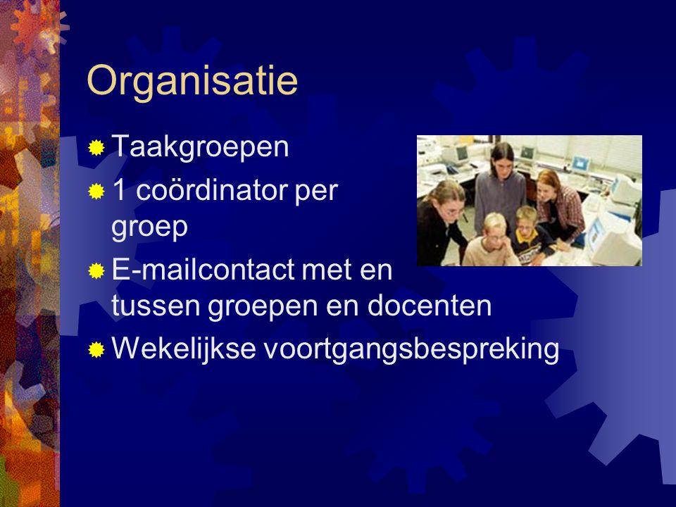 Organisatie  Taakgroepen  1 coördinator per groep  E-mailcontact met en tussen groepen en docenten  Wekelijkse voortgangsbespreking