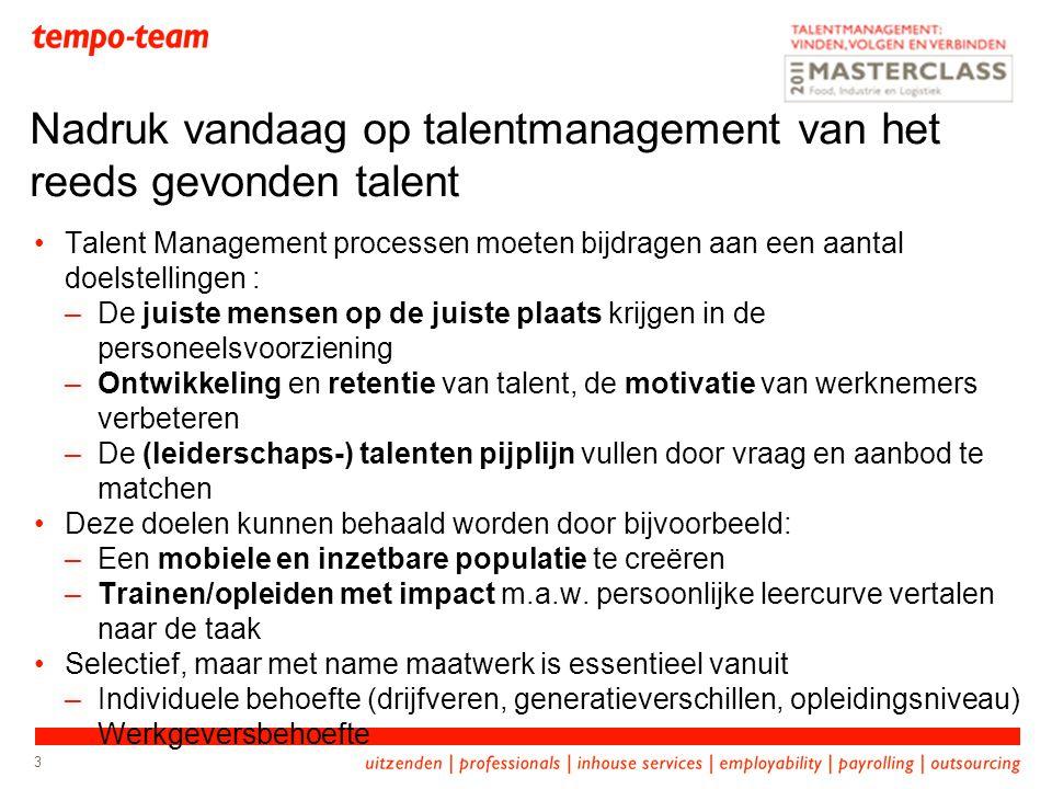 3 Talent Management processen moeten bijdragen aan een aantal doelstellingen : –De juiste mensen op de juiste plaats krijgen in de personeelsvoorziening –Ontwikkeling en retentie van talent, de motivatie van werknemers verbeteren –De (leiderschaps-) talenten pijplijn vullen door vraag en aanbod te matchen Deze doelen kunnen behaald worden door bijvoorbeeld: –Een mobiele en inzetbare populatie te creëren –Trainen/opleiden met impact m.a.w.