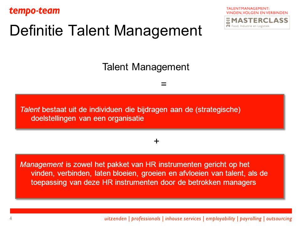4 Definitie Talent Management Talent Management = Talent bestaat uit de individuen die bijdragen aan de (strategische) doelstellingen van een organisa