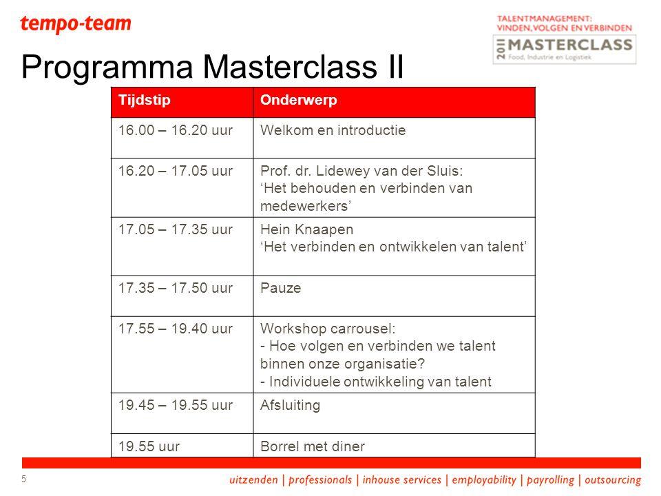 Programma Masterclass II 5 TijdstipOnderwerp 16.00 – 16.20 uurWelkom en introductie 16.20 – 17.05 uurProf. dr. Lidewey van der Sluis: 'Het behouden en
