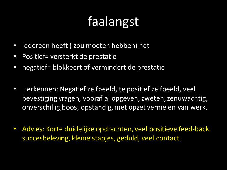 faalangst Iedereen heeft ( zou moeten hebben) het Positief= versterkt de prestatie negatief= blokkeert of vermindert de prestatie Herkennen: Negatief