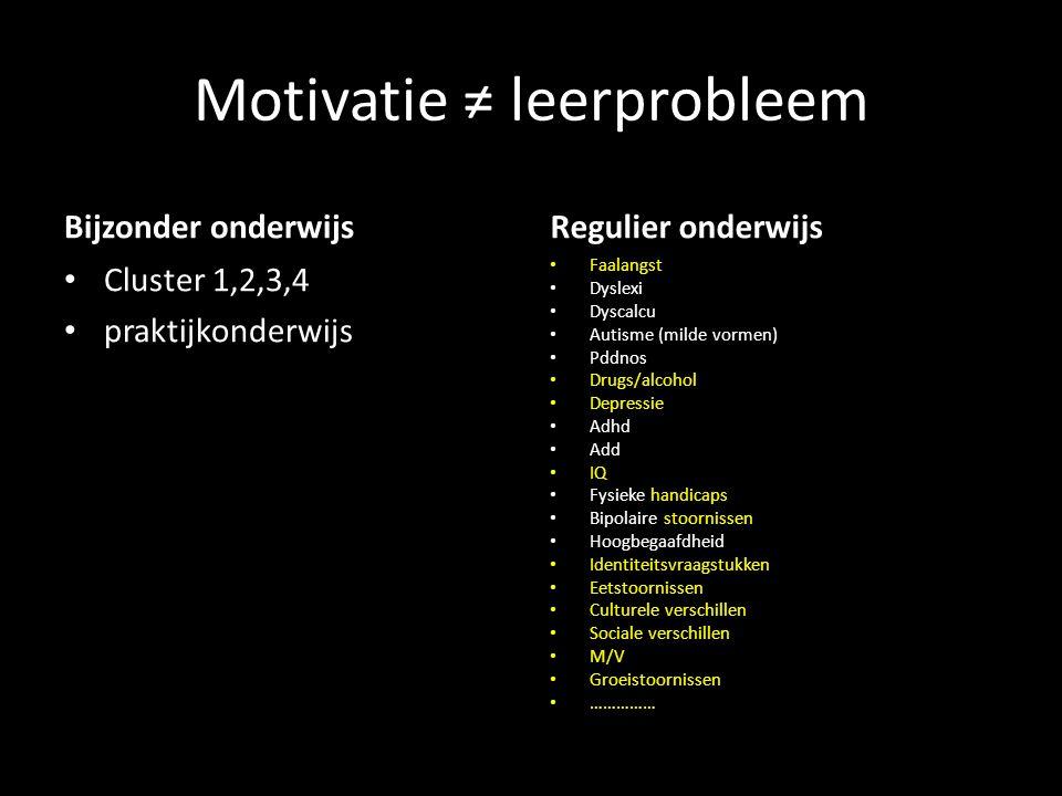 Motivatie ≠ leerprobleem Bijzonder onderwijs Cluster 1,2,3,4 praktijkonderwijs Regulier onderwijs Faalangst Dyslexi Dyscalcu Autisme (milde vormen) Pd