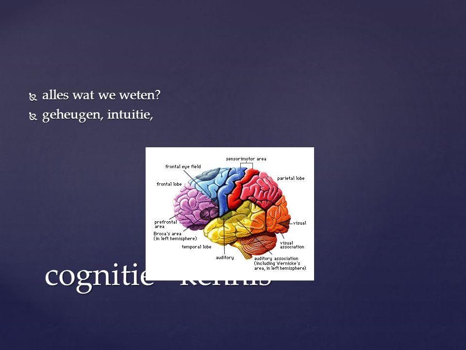 alles wat we weten?  geheugen, intuitie, cognitie= kennis