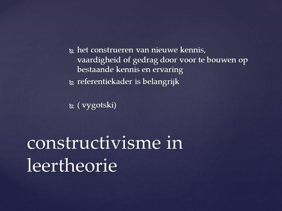  het construeren van nieuwe kennis, vaardigheid of gedrag door voor te bouwen op bestaande kennis en ervaring  referentiekader is belangrijk  ( vygotski) constructivisme in leertheorie